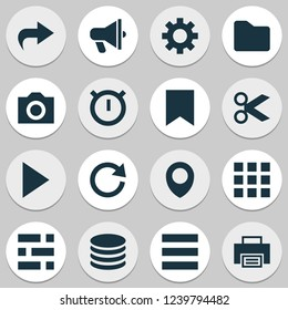 User icons set with list, play, folder and other dossier elements. Isolated vector illustration user icons.