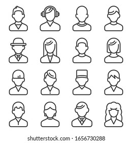 User Icons set on White Background. Line Style Vector