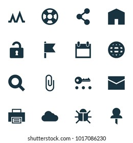 User icons set with privacy, search, mail and other earth  elements. Isolated vector illustration user icons.