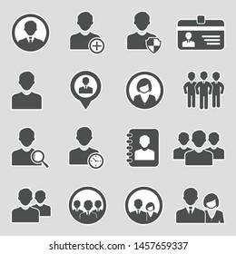 User Icons. Sticker Design. Vector Illustration.
