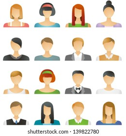 User icons in vector, represent both male and female people: men and women in formal and informal clothes (for social networks, illustrations, profiles, mobile and tablet application etc)