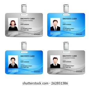 User id card realistic set with male and female photo templates isolated vector illustration