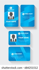 User id card set with color element and photo templates isolated vector illustration