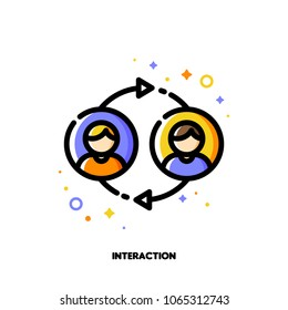 User interaction, people communication or customer discussion concept. Icon with two abstract users. Flat filled outline style. Pixel perfect. Editable stroke. Size 64x64 pixels