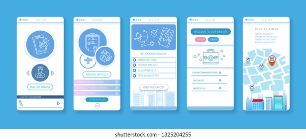 User interface design for mobile applications. Doctor online, medicine articles and other. Illustration in thin line style.