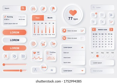 User interface elements for fitness workout mobile app. Fitness tracker, sport activity planner, heart rate monitor gui templates. Unique neumorphic ui ux design kit. Manage and navigation components.