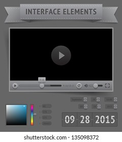 User interface elements. Vector saved as EPS-10, file contains objects with transparency (shadows etc.)