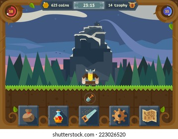 The user interface for the game: main menu, settings, score, time, map, background forest and castle. Vector flat style