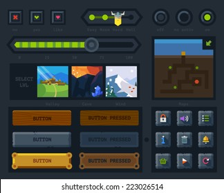 The user interface for the game: map, buttons, icons,  levels, controls and settings. Flat vector style