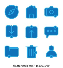 User interface icon including compass, user interface, ui, map, home, user, interface, camera, download, browsing, link, upload, chat, message, mail, folder, data, file, garbage, trash, empty, delete
