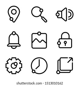 User interface icon including location, pin, direction, map, find, search, magnifier, ui, audio, sound, volume, bell, notification, alert, image, photo, picture, frame, lock, security, safe, options