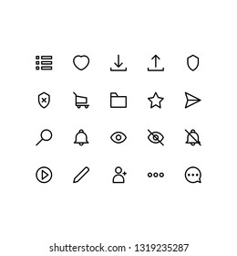 User Interface icon set simple vol 2 with outline style