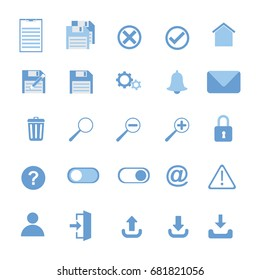 User Interface icons: save, save as, download, trash box, mail, user, log in, upload, update,  notification, zoom, lock, home, phone book, gear.