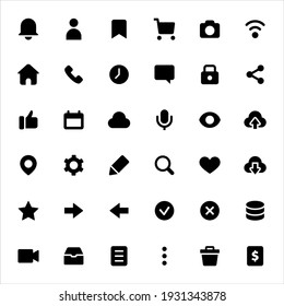 User interface icons set vector graphic illustration