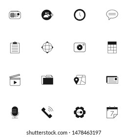 user interface icons in solid line style. glyph line UI icons set