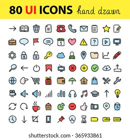 User interface icons. Vector hand drawn doodle icons for interface. Computer signs and symbols design elements.