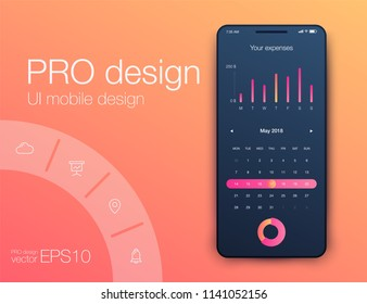 User interface with infographics with charts and graphs in flat design. Ui design calendar