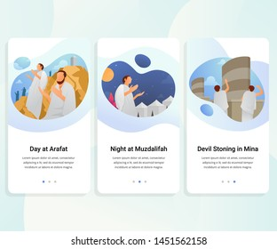 User interface kit for Hajj guide step by step. vector illustration