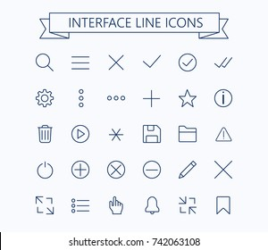 User interface line mini  icons .Editable stroke. 24px