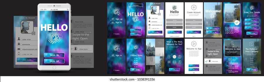 User Interface, Mobile Application Design, UX, Graphical User Interface.Install the welcome window, registration.PR,blog ad layouts, homepage,news search,concepts,chat messaging settings.Promo product