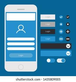 User Interface Mobile Blue Login Screen Button Set Vector EPS