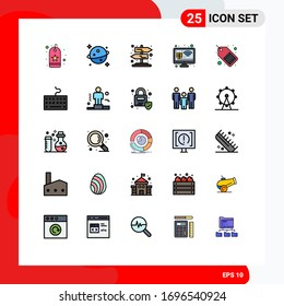 User Interface Pack of 25 Basic Filled line Flat Colors of marketing; commerce; rural; smart farm; growth Editable Vector Design Elements