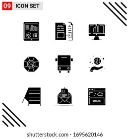 User Interface Pack of 9 Basic Solid Glyphs of chinese; feng shui; file; mirror; shart Editable Vector Design Elements