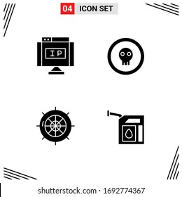 User Interface Solid Glyph Pack of modern Signs and Symbols of internet; nautical; pointer; halloween; sea Editable Vector Design Elements