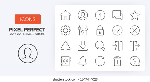 User interface thin line icon set 1/4. Outline symbol collection. Editable vector stroke. 256x256 Pixel Perfect scalable to 128px, 64px...