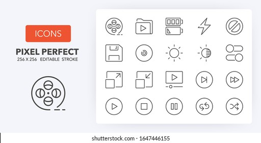 User interface thin line icon set (4/4). Outline symbol collection. Editable vector stroke. 256x256 Pixel Perfect scalable to 128px, 64px...
