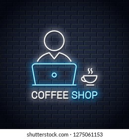 User with laptop neon banner. Pc user with coffee cup in cafe neon sign on wall vector background