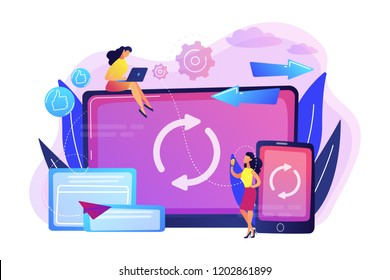 User with laptop and smartphone synchronizing. Cross-device syncing, cross-device synchronization and operation concept on white background. Bright vibrant violet vector isolated illustration