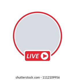 User LIVE video streaming. Social media icon avatar