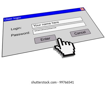 User login window as a security concept. Illustration saved in EPS10. All text is replaceable.
