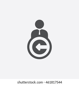 User Logout Icon in trendy flat style isolated on gray background. User Logout symbol for your web site design, picture, art, logo, app, UI. Vector illustration, EPS10 and JPEG file