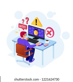 User man programmer character receive error message computer bug virus on pc monitor screen. Online personal data protection concept. Vector flat cartoon isolated graphic design illustration