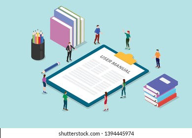 user manual book concept with people and some guide on the clipboard with modern style flat and isometric or isometry 3d - vector illustration