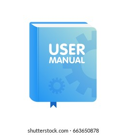 User Manual book icon. Flat vector illustration.