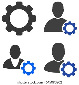 User Options Gear flat vector pictograph set. An isolated icons on a white background.