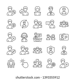 User people line icons. Profile, Group and Support icons. ID card, Teamwork people and Businessman symbols. Couple love, Security profile and User management support. Quality set. Vector