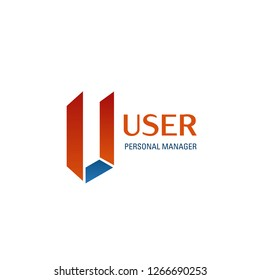 User personal manager vector icon isolated on a white background. Creative badge in orange and blue colors, concept of personal assistant or secretary assistant or office manager