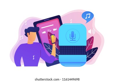 User playing music on smart speaker and mobile phone. Music playback and streaming, voice activated digital assistants for mobile applications concept, violet palette. Vector isolated illustration.