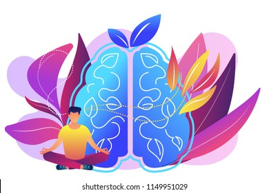 User practicing mindfulness meditation in lotus pose. Mindful meditating, mental calmness and self-consciousness, focusing and releasing stress concept, violet palette. Vector isolated illustration.
