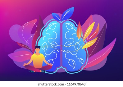 User practicing mindfulness meditation in lotus pose. Mindful meditating, mental calmness and self-consciousness, focusing and releasing stress concept. Vector illustration on ultraviolet background.