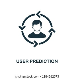 User Prediction icon. Monochrome style design from big data collection. UI. Pixel perfect simple pictogram user prediction icon. Web design, apps, software, print usage.