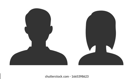 User profile or avatar illustrations. Man and woman icon