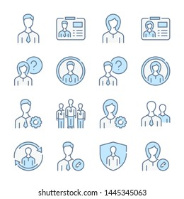 User profile, Avatar and Profile services related blue line colored icons.