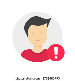 User profile caution or important notice identification vector icon, personal fake account or fraud risk data alert notification vector flat male man symbol, web person id safety message isolated