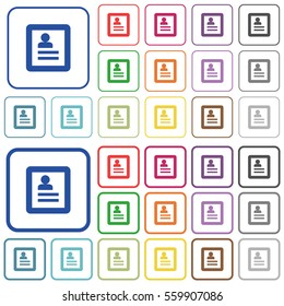 User profile color flat icons in rounded square frames. Thin and thick versions included.