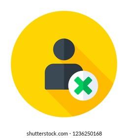 User profile sign web icon with delete glyph. Vector illustration design element eps10